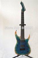 Wholesale TOP QUALITY Electric guitar Blackmachine strings B8 with Lake Blue Burls top Ebony fretboard