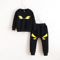 sport clothing wholesale - 2015 Children Clothing Winter Girl Boy Cartoon Sport Sets Kids Thicken Clothes Outfits Piece Sets Pullover Tops Pants Set A190D1