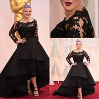 oscar - 87th Oscar Awards Kelly Osbourne Black Long lace sleeves Celebrity formal Evening Dresses Hi lo A line short party Prom gowns Plus size