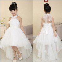 Wholesale 3y y flower girls dresses gowns for weddings Elegant trailing gown white first holy lace communion dress little girl children bridesmaid