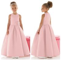 Wholesale 2015 Cheap Jewel Neckline Satin Flower Girl Dresses Ankle Length Pageant Dresses with Zipper Back