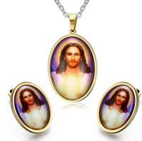 african american art - Stainless Steel Jesus Photo Pendant And Earring Gift Present Metal Art Photo Necklace Jewelry Set