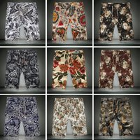 big flax - Foreign trade big yards of flax fashionable men shorts fertilizer increase floral beach pants retro shorts