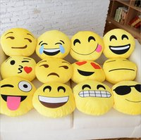 Wholesale Cushion Cute Lovely Emoji Pillows Cartoon Facial QQ Expression Cushion Yellow Round Pillow Stuffed Plush Toy PP Cotton
