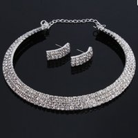 Wholesale Women Fashion Jewelry Three Triple Rows Rhinestone Bling Bling Silver Necklace Choker Earring Set for Wedding Bridals