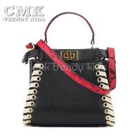 cell phone straps - CMK KB150 Python Strap Peekaboo Handbag for Kids Girls Woven Shoulder Strap Bag for Women Colors