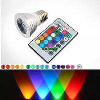 Wholesale E27 LED RGB Bulb E27 LED RGB Spotlights Light Bulb W Color LM V V with Keys Wireless Remote Control