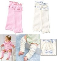 Wholesale 2014 New Winter Cute Lace Decorate Cartoon Baby Cotton Leg Warmers For Toddler Girl Pink And White For Choose