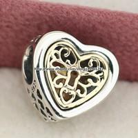 925 plata esterlina 14K oro verdadero Cerrado pulseras de la joyería del encanto de los corazones el ajuste del grano del estilo europeo de Pandora Collares pendientes