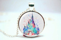 art castles - 10pcs Cinderella s Castle Art Print NECKLACE Glass Photo Cabochon Necklace