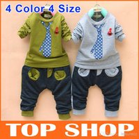Cheap Kids kids clothes Clothing Children's Cotton Blends Tie Pattern Outfits Boys Clothes And Trousers Set-4Colors 4Size MY0007