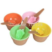 Wholesale 4Set Children s Ice Cream Bowls Spoons Set Durable plastic ICE Cream CUP For KIds Couples cup