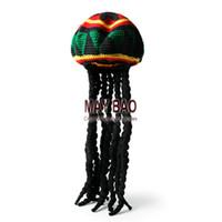 active lock - Knitted REGGAE cap With Dread Locks Rasta Hat Jamaican Hats with Black Hair Reggae Jamaican Soft Bob Marley Beret Hat