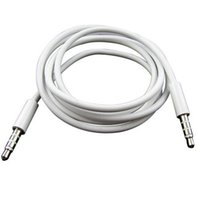 Wholesale 1M mm Male to Male Stereo Audio Jack AUX Auxiliary Cable for iphone s for iPad MP3 MUSIC PLAYER IN THE CAR White