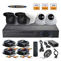 al por mayor kit de 4 canales interiores circuito cerrado de televisión-Seguridad CCTV 4CH 720P AHD cámara DVR sistema 1.0MP interior al aire libre kit de vigilancia