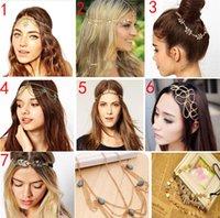 Wholesale 80pcs Disc Coin Crown Hair Cuff Wrap Headband Headwrap Headdress Boho Punk Hippy Chain Women Headdress