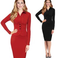 Wholesale Fashion Women s Fake Two Pieces Suits and Blazers Formal Dress Falbala Dress Bodycon Sheath Pencil Dresses DR021