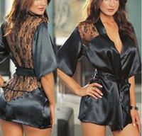 Wholesale 1set Hot Fashion Women Clothing Set Lace Nightgown Sexy Sleepwear Nightdress Nightwear Ladies Black M L XL sIze Drop Free