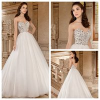 Cheap Ivory Sweetheart 2015 Tulle Ball Gown Wedding Dresses Backless Crystal Sleeveless Sweep Train Beading Bridal Dress Demetrios 567