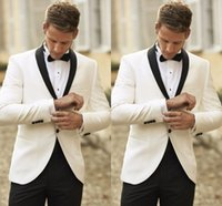 Wholesale 2015 Classic Groom Tuxedos White Jacket and Black Pants Two Button Shawl Lapel Custom Made Men Wedding Suit