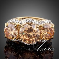 cubic zirconia stone - AZORA Sparkling K Real Gold Plated Gold Colour Stellux Austrian Crystal Ring TR0081