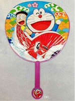 white hand fans - 2015 girl kid summer Doraemon mickey snow white pooh plastic circular Cartoon folding fan cooling tools fan hand fan gift TOPB2746