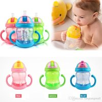 Wholesale 240ML Colors Cute Baby Cup Feeding Drinking Straw Bottle mamadeira Sippy Training Cup A5