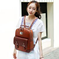 Wholesale Hot Sale New Fashion Women Backpack Mochila Zipper Faux Leather Backpack Travel Bags School Bag For Girls ZF0047