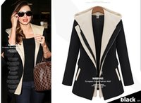 Wholesale 2014 new winter cultivation of false two Hooded Jacket female splicing small suit all match small suit