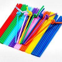 plastic barware - In stock Multi Color Plastic Drinking Straws Foldable Disposable Barware wedding accessories