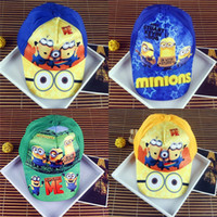 Wholesale Kids Despicable Me Minions Hats Cartoon Ball Caps Boys Girls Baseball Cap Peaked Hat Beanies Flat Hats Sports Casual Beret Bomber Hats