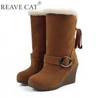Nuevos 2015 Invierno mujer botas de nieve de los zapatos de las cuñas de moda con lentejuelas Negro Marrón Rojo Amarillo botas calientes de la venta caliente Dulces Flock