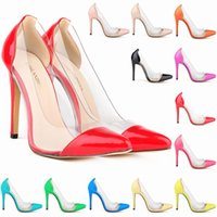 large size high heel shoes - Large Size Women Shoes Pumps Pointed toe Patent leather Thin heels Transparent Spring summer Shoes women High heels