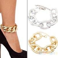 aluminium bangle - min order pc New Fashion smooth shinning Aluminium Chic Curb Chain anklet Personality punk Bangle jewelry BN