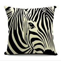 black pillow cases - 45 cm Cartoon Cushion Cover Zebra Black and white Cotton and Linen Pillow Case Floating Window Cushion Cover Frozen A918