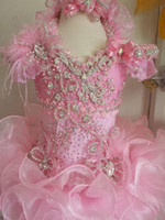 wedding dress feather - 2014 New Fashion Pink Ball Gown Ruffle Girls Pageant Dresses Luxuries Beaded Crystal Fur Feather Glitz Kids Birthday Party Gown
