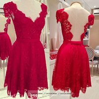 club dress lace - Cheap Lace Red Short Party Dresses Mini Cap Sleeve Sheer Real Image Backless V Neck Prom Cocktail Gowns Sexy Club Skirt In Stock Cheap