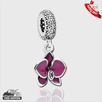 Wholesale Authentic Sterling Silver Beads Orchid dangle with clear and purple CZ and purple enamel Fits Pandora Style Bracelets