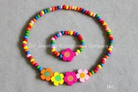 Cheap 12sets girls colored wooden bead necklace bracelet jewellery set MIXED CUTE WOOD BEADS NECKLACE BRACELET SET New Baby Kids Gifts