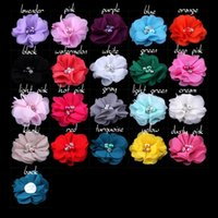 Wholesale 13 colors Chic Chiffon Pearl Rhinestone Flowers Artificial Flower Fabric Flowers Hair Accessories Christmas Hair Flower G034