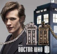 antique phone boxes - Doctor Who Police Box Phone Box Pendant Necklace Vintage Silver Gold Colors Retro Antique Men Women Necklaces