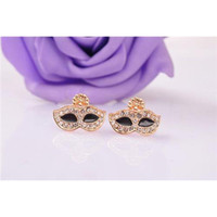 mask earrings - Rhinestone Inlaid Mask Shape Alloy Ear Stud Ear Clip Fashion Female Jewelry Earring B1563