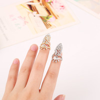 american manicure set - Sell like hot cakes creative nail ring European and American fashion fan set auger pearl crown manicure Gold Silver Ring Finger Nail Rings