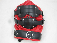sex mask - PU Red Enclosure Sex Hoods Head Mask for Female Slave BDSM Bondage SM Adult Games Sex Toys for her HMHD C
