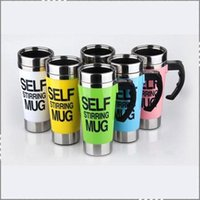 Wholesale 2015 Hot Sell Colorful Automatic coffee mixing cup mug bluw stainless steel self stirring electic coffee mug ml FreeShipping