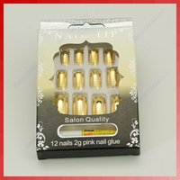 Wholesale Hot Sell sets D Pre design French Acrylic False Nail Tips gold pink silver order lt no track