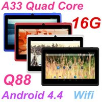 Wholesale Quad core inch Q88 Allwinner A33 tablet pc DDR3 G RAM ROM GB Wifi Capacitive Screen Dual camera External G tablets Android