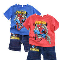 Boy amazing clothes - Baby Boys Clothing T T T T T The Amazing Spiderman Summer Set Children T Shirt Top Jeans Shorts Suits Brand New