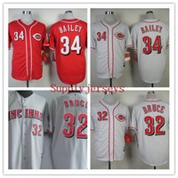 bailey baseball - Baseball Jerseys Cincinnati Men BAILEY Grey Red White stitched Athletic jersey Mix Order High Quality
