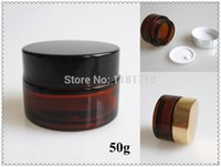 amber jar - 50pcs g Amber Glass Cream Jar with Silver Gold Black Lid Empty Cosmetic Container Cosmetic Jar Glass Packaging Bottle
